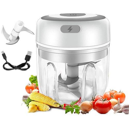 250ml Mini USB Wireless Electric Garlic Masher Press Mincer Sturdy Vegetable Chili Meat Grinder Food Chopper Kitchen Gadget Tool