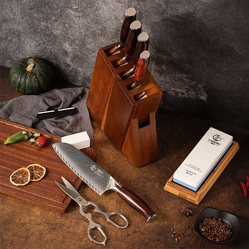 YARENH Damascus Kitchen Knife Set 5-8 Pcs Professional Knife Block Set 73 Layers High Carbon Stainless Steel Sharp Cooking Tools