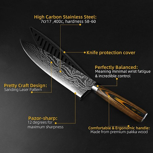 Kitchen Knives Set Stainless Steel 7CR17 Japanese Style Chef Knife Bread Meat Cleaver Paring Kitchen Knife Kitchen Accessories