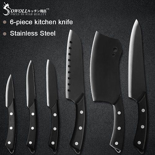 Sowoll Pro Kitchen Cooking Knives Set 8'' Chef  7'' Santoku Chopping 5'' Santoku Utility 3.5'' Paring Knife Sheath Cover Tools