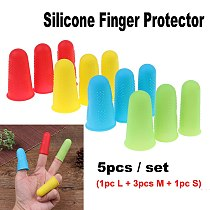 5pcs Silicone Finger Protector Sleeve Cover Anti-cut Heat Resistant Anti-slip Fingers Cover For Cooking Kitchen Tools