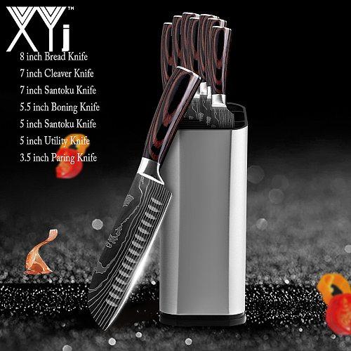 Kitchen Knife Set Stainless Steel Knife Holder Gift Knife Cover Santoku Utility Cleaver Bread Paring Nakiri Knives Cutter Tools