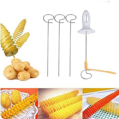 Potato Slicer Stainless Steel Kitchen Accessories Tornado Slicer Manual Cutter Spiral Chips Maker With 4Sticks Vegetable Tools