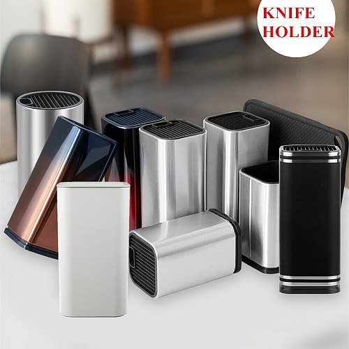 XYj Cutlery Kitchen Knife Holder Storage Supplies Stainless Steel Knife Block Stand Large Capacity Multifunctional Storage Seat