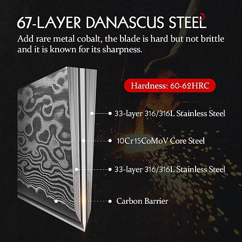 HEZHEN 6 PC Knife Set Professional Real 67 Layers Damascus Surer Steel Durable Sharp High Quality Kitchen Cook Knives