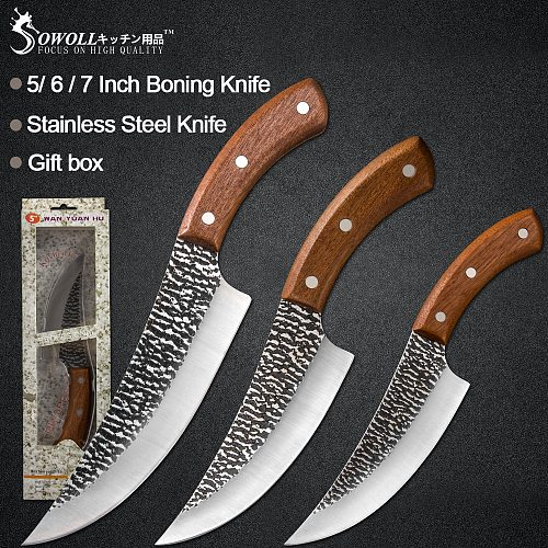 Sowoll 5'' 6'' 7'' Kitchen Handmade Forged Chef Knife High Carbon Blade Wood Handle Full Tang Survival Outdoor Camping Hunting