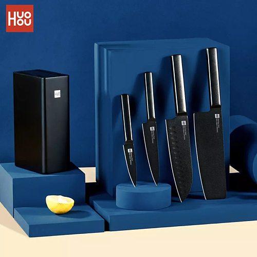 Huohou 5Pcs Cool Black Kitchen Non-Stick Knife With Knife Holder Stainless Steel Chef Knife Set 307mm Slicing Knife