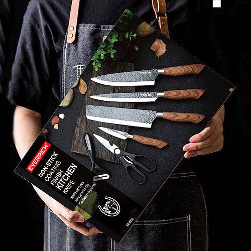 Stainless Steel Kitchen Knives Set Tools Forged Kitchen Knife Scissors Ceramic Peeler Chef Slicer Nakiri Paring Knife Gift Case