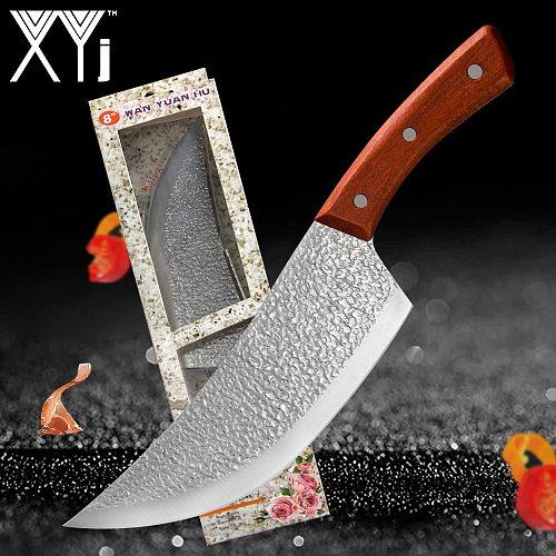 XYj Full Tang Butcher Knife 8 inch Slicer Hunting Serbian Chef Knife Turkey Meat Salmon Steak Beef Bread Fish Chicken Vege Knife