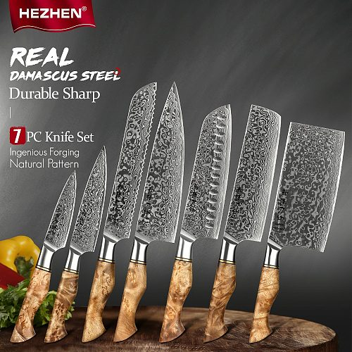 HEZHEN 7PC Kitchen Knife Set Damascus Steel Chef Santoku Paring Utility Bread Knife For Meat Professional Kitchen Cook Knife