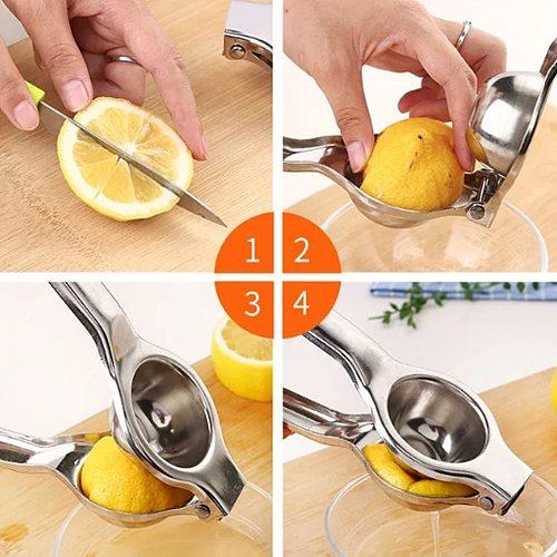 Portable Manual Juice Squeezer Hand Pressure Juicer Stainless Steel Kitchen Tools Lemon Juice Fruit Pressing Healthy Lifestyle