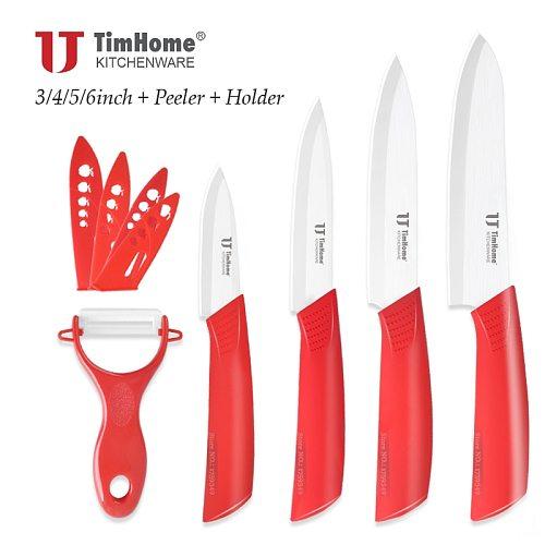 White Blade Ceramic Kitchen Knives Set 6  5  4  3  inch Ceramic Chef knife+Ceramic Peeler+Sheaths/Covers