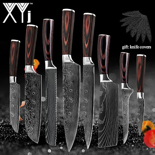 Stainless Steel Knives Set Color Wood Handle Chef Chopping Boning Cleaver Kitchen Knives Gift Covers Household Cooking  Tools
