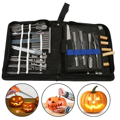 46Pcs Carving Tools Kit Portable Vegetable Fruit Food Chisel Chrome Steel DIY Craft Carving Knife Sculpting Pottery Carved Tool