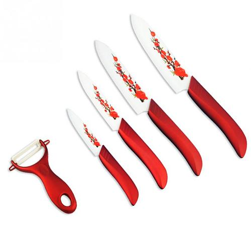 5 Pcs/Set High Quality Ceramic Kitchen Cooking Knife Chef Paring Knife ABS+TPR Handle Sharp Blade Ceramic Knife