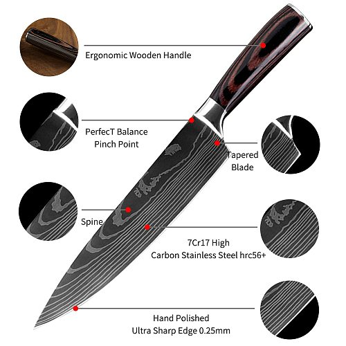 Kitchen Knives Damascus Veins Stainless Steel Knives Gift Knife Cover Color Wood Handle Fruit Santoku Cleaver Chef Cooking Knife