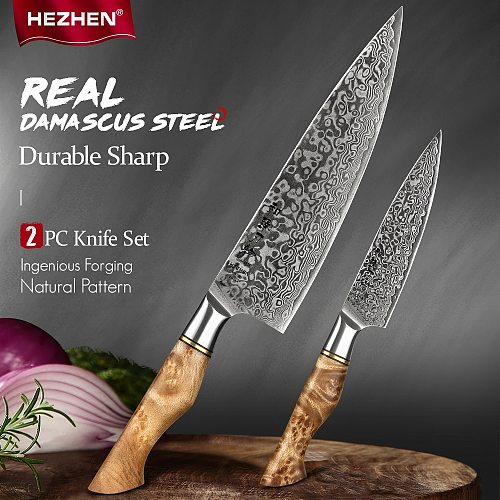 HEZHEN 2PC Kitchen Knife Set Damascus Stainless Steel Sharp Professional Chef Utility Cooking Knives For Kitchen Knife