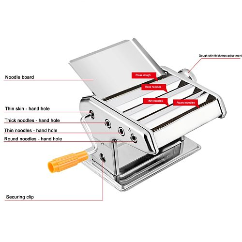 IYouNice 3 Blades Durable Stainless Steel Pasta Machine Manual Maker Noodle Press Machine Adjustable Thickness Dumplings Tool