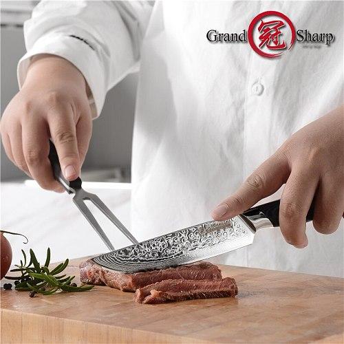 Grandsharp 4Pcs Steak Knife Sharp Table Knives Set Dinnerware Set Damascu Stainless Steel Cutlery Set Kitchen Tableware Set Gift