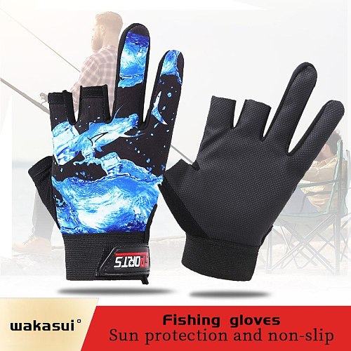 Summer Fall Autumn Carp Three Finger Sport Outdoor Fishing Gloves  Finger Protector Fishing Accessories Waterproof And Non-Slip