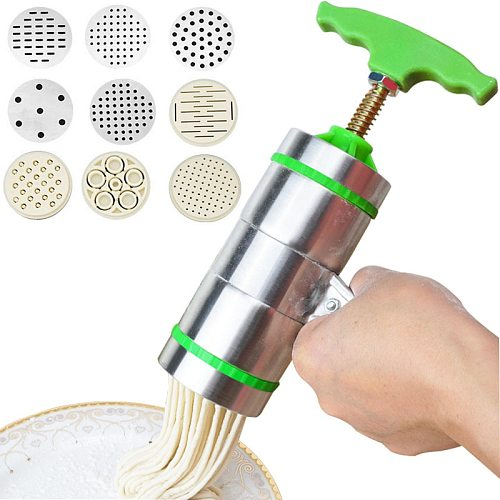 Noodle Pasta Press Maker Machine Hand Cutter,Manual Juicer Cookware with 7/5 Pressing Moulds -Making Spaghetti Fettuccine Noodle