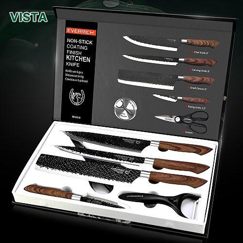 Stainless Steel Kitchen Knives Set Tools Forged Kitchen Knives Scissors Peeler 6 pcs Chef Slicer Nakiri Paring Knife Gift Case