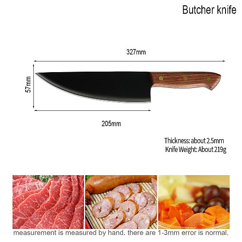 Sowoll 8 inch Steel Chef Kitchen Knife Brown Black Wood Handle Knife Slaughter Slicing Meat Fish Cooking Tool Knife Sheath Cover