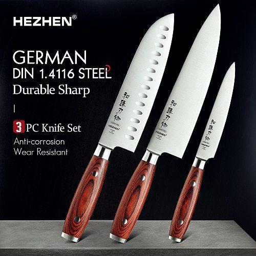 HEZHEN Basis Series 1-3PC Knife Set Chef Santoku Utility Stainless Steel Pakka Wood Handle Kitchen Tool