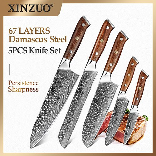 2021 XINZUO Damascus Steel 5PCS Kitchen Knife Set Bread Chef Meat Santoku Paring Cleaver Knife Cutter Tool with Ironwood Handle