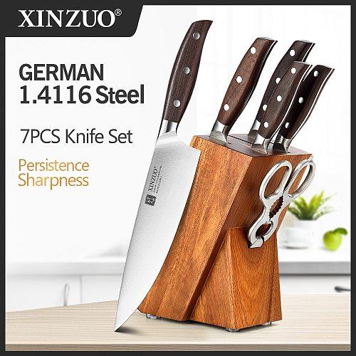 XINZUO Professional Full 7 PCs Knife Set German 1.4116 Stainless Steel Kitchen Knives Sets Best Kitchen Slicing Santoku Tool