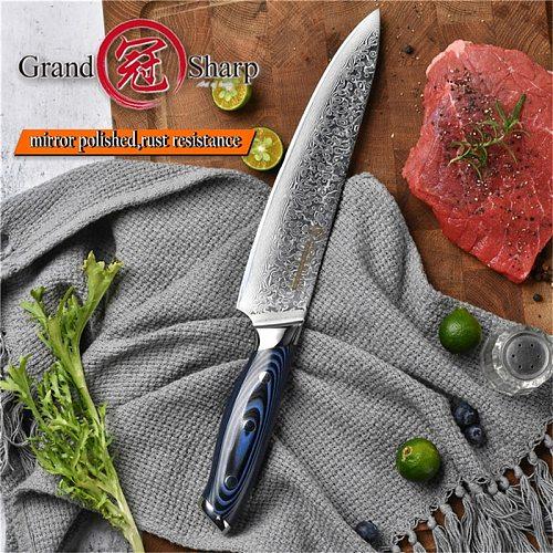 Grandsharp Damascus Chef Knives Japanese Damascus Kitchen Knives VG10 Chef Santoku Utility Boning Kitchen Knives G10 Handle Gift