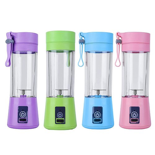 380ml 2 Blades USB Rechargeable Juice Machine Blender Mixer Portable Juicer Smoothie Maker For Home Kitchen Juice Extractor