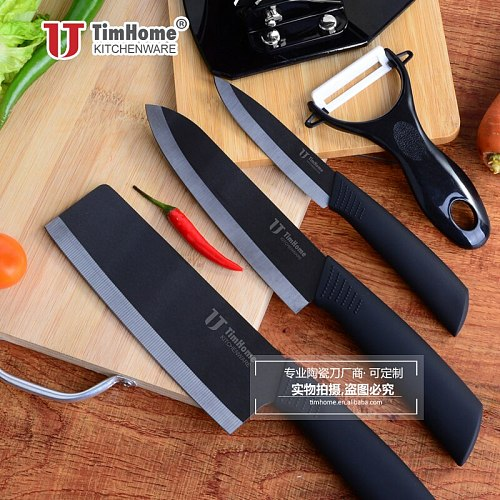 New arrival 4 pcs black blade kitchen chef peeling knives  with sheath for fruit and vegetable