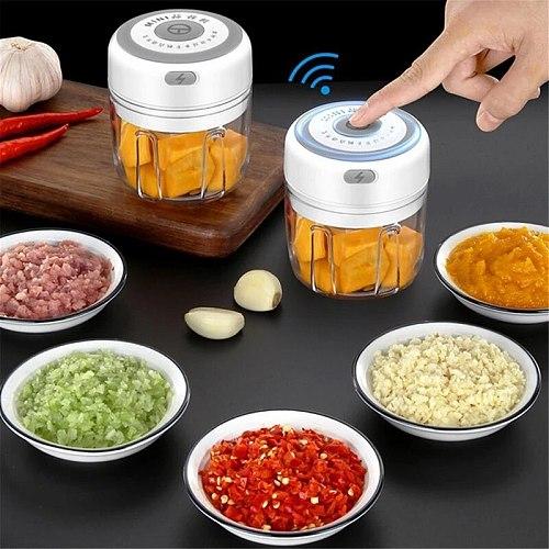 100/250ml Mini USB Wireless Electric Garlic Masher Sturdy Press Mincer Vegetable Chili Meat Grinder Food Chopper Kitchen Tools