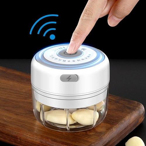 Mini Electric Garlic Chopper USB Charging Ginger Masher Machine Vegetable Fruit Twist Shredder Meat Grinder Slicers Kitchen Tool