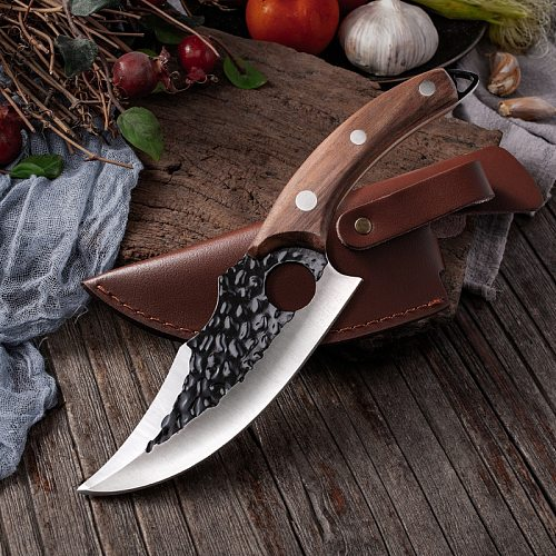 6'' Meat Cleaver Butcher Knife Stainless Steel Hand Forged Boning Knife Chopping Slicing Kitchen Knives Cookware Camping Kinves
