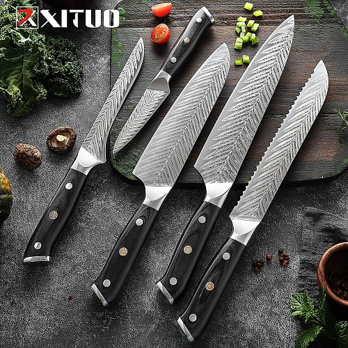 XITUO 7CR17 Stainless Steel Kitchen Knives Set Chef Slicing Cleaver Santoku Knife Laser Damascus Pattern Utility Cooking Tools