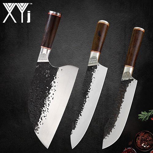 XYj Handmade Forged Chef Knives Set Slaughter Chopping Slicing Knife Meat Fish Vegetable Cooking Accessory Tools Wood Handle