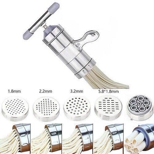 New Stainless Steel Noodle Maker With 5 Models Manual Noodles Press Pasta Machine Kitchen Tools Vegetable Fruit Juicer
