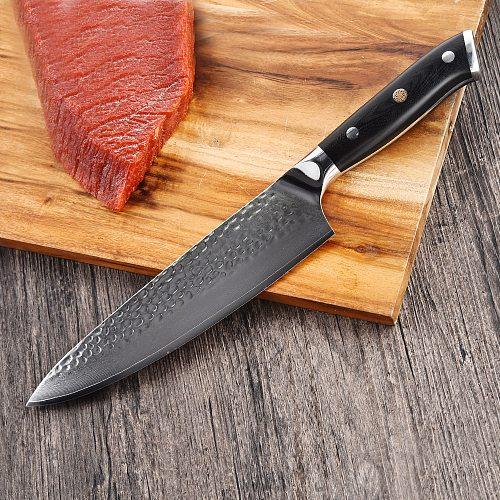 DUANZAOSHI Damascus knife japanese-style knife grain, multi-purpose cutter manual forging tool kit  Chef Knife VG10 Steel core