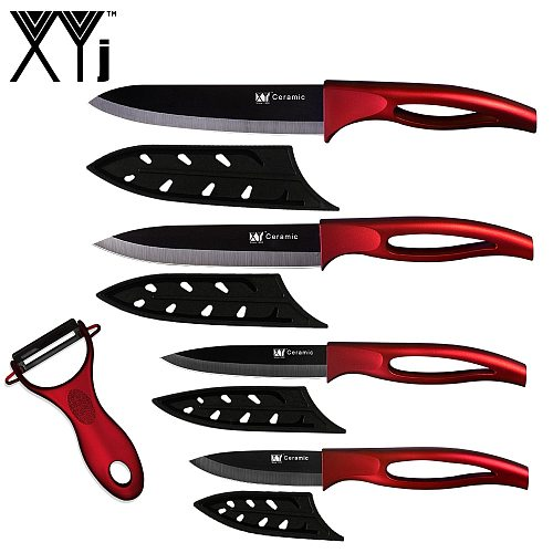 XYj Kitchen Cooking Ceramic Knives 3'' Paring 4'' Utility 5'' Slicing 6''' Chef Knife Multi-Color Handle 5pcs Knife Set