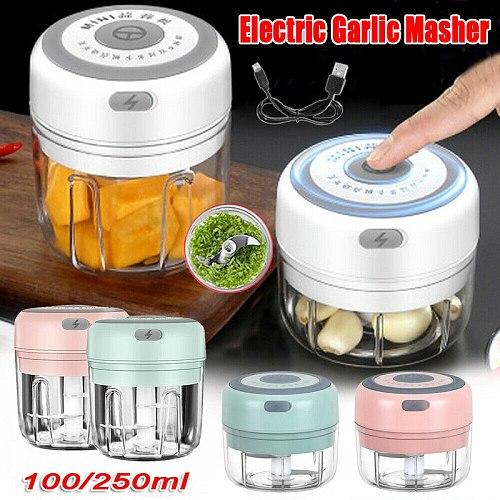 Mini USB Electric Garlic Masher Wireless Garlic Grinder Press Mincer Vegetable Chili Meat Grinder Food Chopper Kitchen Tools