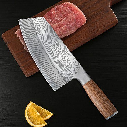 Damascus Veins Chinese Filleting Steak Kitchen Knife Serbian Chef Knife Butcher Slicer Santoku Cleaver Cutter Slicing Knife