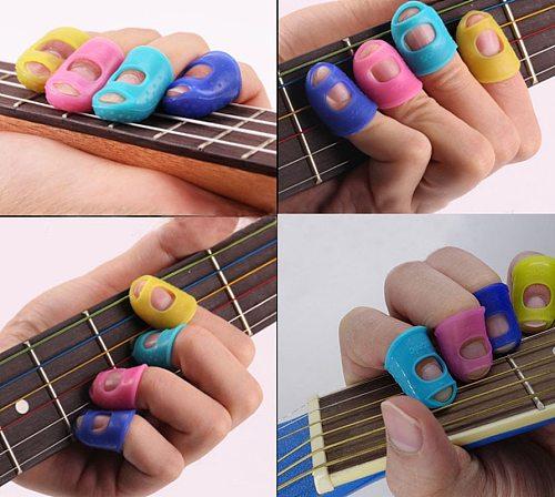 5Pcs/Set Guitar Silicone Fingertip Protector Gel Finger Guards Guitarra Strings Fingerguards Thumb Finger Nail Protect Cover