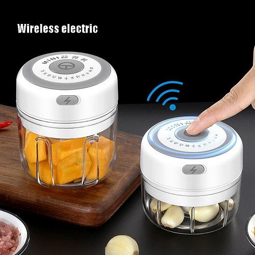 100/250ml Mini Electric Garlic Masher USB Wireless Multifunction Mincer Vegetable Chili Meat Grinder Food Chopper Kitchen Tools
