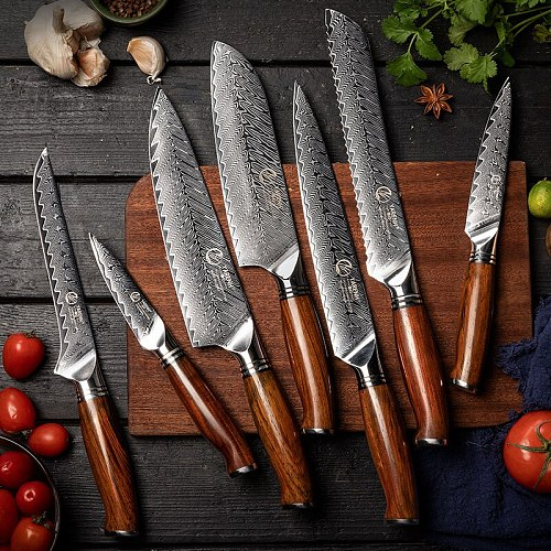 YARENH Kitchen Knives Set 7-9PCS Damascus Steel Cooking Tools Professional Bread Santoku Paring Boning Utility Chef Knife Sets