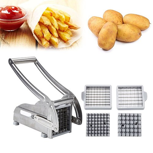 Manual French Fry Cutters 2 Blades Stainless Steel Manual French Fries Cutter Potato Chips Strip Making Tool Food Processors