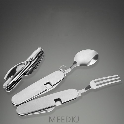 Stainless steel outdoor dining fork tableware detachable camping folding knife, fork and spoon combination