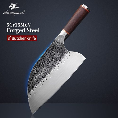 Chef Butcher Knife High Carbon 5Cr15Mov Steel Kitchen Knife Cooking Tool Chinese Chopping Utility Cleaver Knife With Wood Handle