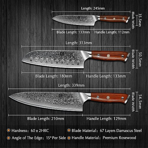 XINZUO 3PCS Kitchen Knife Set Damascus Stainless Steel Kitchen Knives Gyuto Chef Utility Knife Kitchen Tool with Rosewood Handle